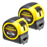 Stanley 033719PK2 FatMax Blade Armor Tape Measure 5m/16ft - Pack of 2