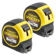 Stanley 033726PK2 FatMax Blade Armor Tape Measure 8m/26ft - Pack of 2