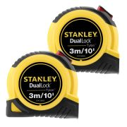 Stanley 368050PK2 Tylon Duallock Tape Measure 3m/10ft - Pack of 2