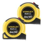 Stanley 368070PK2 Tylon Duallock Tape Measure 8m/26ft - Pack of 2