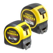 Stanley FMDP1 Fatmax Blade Armor Tape Measure 8m/26ft & 5m/16ft - Pack of 2