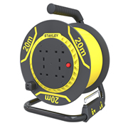 Stanley SXECFL26HRE 20m Cable Reel 4x13A Yellow Cable IP20 240v