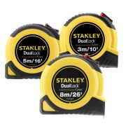 Stanley TD3PK Tylon Duallock Tape Measure 3/10ft, 5m/16ft, 8m/26ft Pack