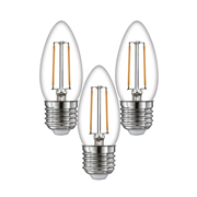 TimeLED 750445PK3 LED Candle Filament 2W Non-Dimmable Bulb E27 WW - Pack of 3
