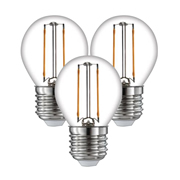 TimeLED 750506PK3 LED Golf Ball Filament 2W Non-Dimmable Bulb E27 WW - Pack of 3