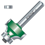"Trend C074X1/4TC Guided Rounding Over Cutter 9.5mm Cut - 1/4"" Shank, 19mm Dia, 3.2mm Radius"
