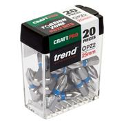 Trend CR/QR/IPZ2/20 Trend PZ2 25mm CraftPro Screwdriver Bit Box - Pack of 25