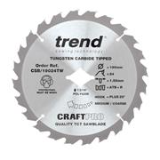 Trend CSB/19024TW Trend 190mm 24 Tooth Craft Sawblade For Wormdrive