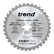 Trend CSB/19036TW Trend 190mm 36 Tooth Craft Sawblade For Wormdrive