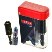 Ultex 300613 Ultex PZ2 25mm Ultra Impact Torsion Screwdriver Bit Box - Pack of 25 & Bit Holder