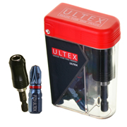 Ultex PZ3 25mm Ultra Impact Torsion Screwdriver Bit Box - Pack of 25 & Bit Holder