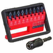 Ultex 300857 Ultex Ultra 10 Piece PZ and PH Double Torsion Impact Screwdriver Bit Set