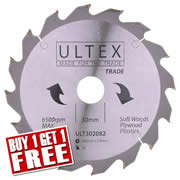 Ultex 302082 Ultex 190mm 16 Tooth TCT Trade Blade