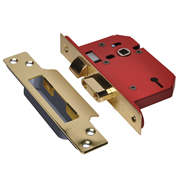 Union J2203S-PB-3.0 Union 3 Lever Union Strongbolt Sashlock 3'' - Polished Brass