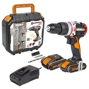 Worx WX354 Worx WX354 20V Cordless Brushless Impact Slammer Drill with 2 x 2Ah Batteries and Charger