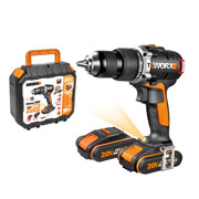 Worx WX373 20v MAX Brushless Combi Drill with 2 x 2Ah Batteries, Charger and Case