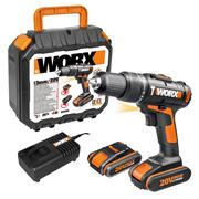 Worx WX386 20v MAX Combi Drill with 2 x 2Ah Batteries, Charger and Case