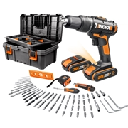 Worx WX386.5 20v MAX Combi Drill with 2 x 1.5Ah Batteries, Charger and Case with 50 Piece Accessory Set