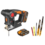Worx WX550.3 20v MAX 2-in1 Recip / Jigsaw Multipurpose Saw with 2 x 2Ah Batteries and Charger