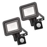 Zinc ZN-31297-BLKPK2 Rye 10w Slimline LED Floodlight With PIR - Black - Pack of 2