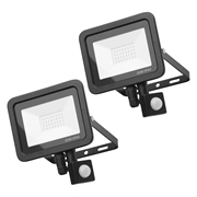 Zinc ZN-31298-BLKPK2 Rye 20w Slimline LED Floodlight With PIR - Black - Pack of 2