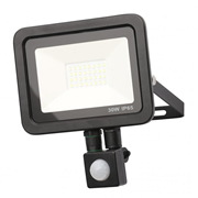 Zinc ZN-31299-BLK Rye 30w Slimline LED Floodlight With PIR - Black