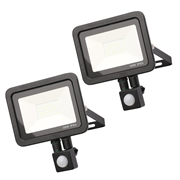 Zinc ZN-31299-BLKPK2 Rye 30w Slimline LED Floodlight With PIR - Black - Pack of 2