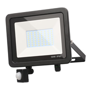 Zinc ZN-31300-BLK Rye 50w Slimline LED Floodlight With PIR - Black