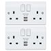 MK by Honeywell K2744WHIPK2 2 Gang DP S/S 2 Port USB Integrated Charger Socket 2A/5V Twinpack