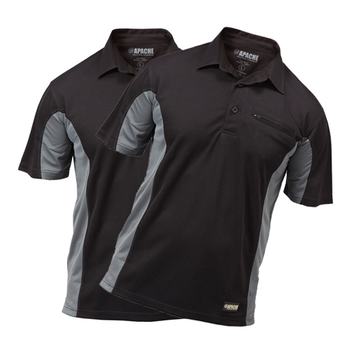 Apache APDMPPK Apache Dry Max Polo Shirt (Black/Grey) Pack of 2