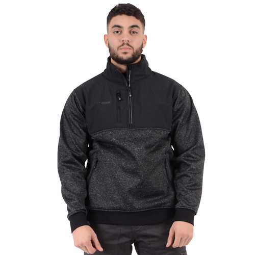 Wind Resistant Zipped Sweater - Black