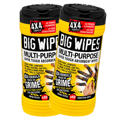 Big Wipes 2410PK2 Big Wipes Multi-Purpose Wipes (80 Wipes) Twin Pack