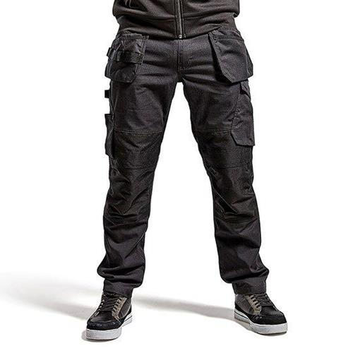 Service Trousers with Stretch & Nail Pockets - Black/Dark Grey