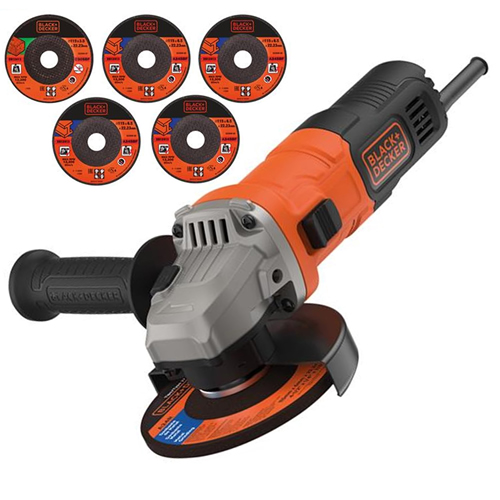 Black & Decker BEG110A5 750W 115mm Angle Grinder with 5 Cutting Discs