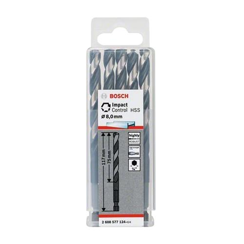 Bosch 2608577124 HSS Impact Control Twist Drill Bit 8.0mm - Pack of 5