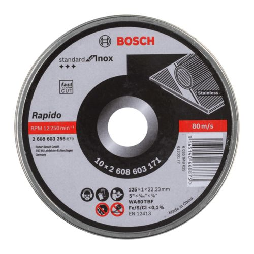 Bosch 2608603255 125mm x 1mm Standard for Inox Cutting Disc Straight Tin of 10
