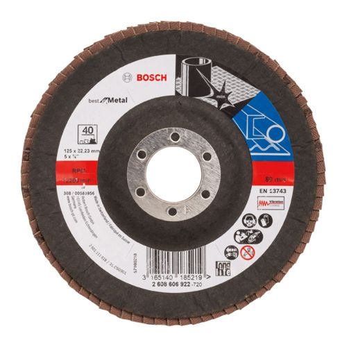 Bosch 2608606922 Flap Disc Best for Metal Ø125mm G40