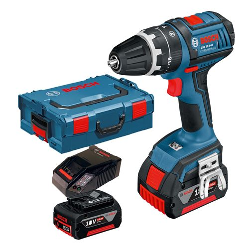 Bosch GSB 18 V-21 18v Combi Drill with 2 x 4Ah Batteries, Charger and Case