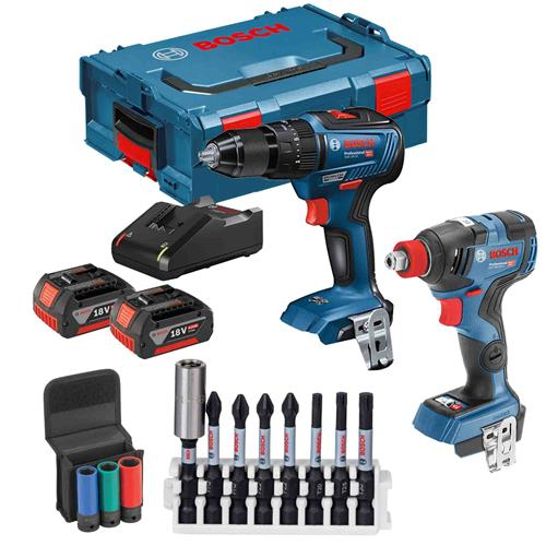 Bosch 0.601.9J2.270 18V Brushless 2 Piece Kit with x 4ah Batteries Charger and Case