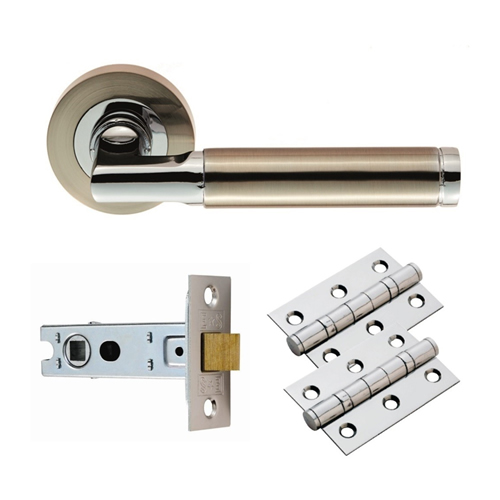 Carlisle Brass GK006SNCP/INTB Carlisle Brass Belas Lever on Rose Latch Pack Sat Nick/Pol Chr