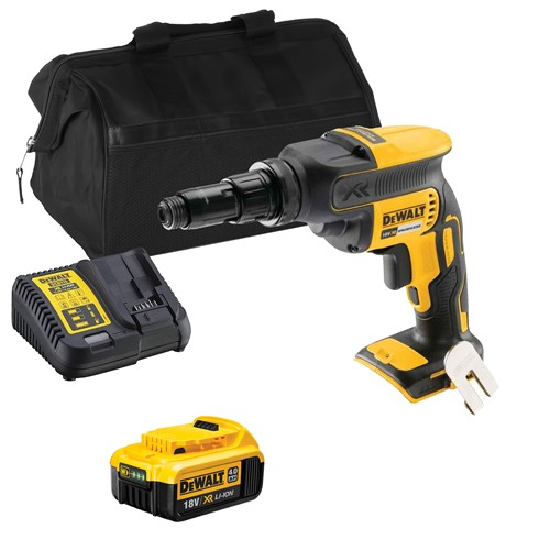 Dewalt DCF622ITS 18V XR Brushless Drywall Screwdriver with 1 x 4Ah Battery, Charger and Bag