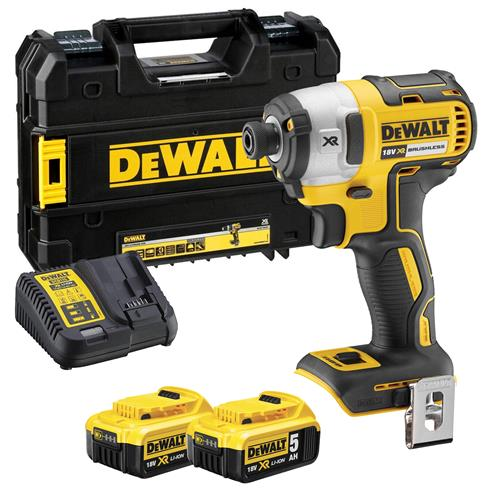 Dewalt DCF887P2 Dewalt 18v Brushless 2nd Generation Impact Driver - 2 x 5.0Ah Batteries