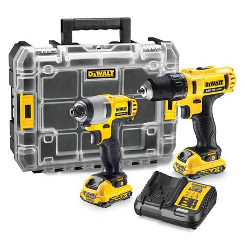 Dewalt DCK211D2T 10.8v XR 2 Piece Kit with 2 x 2Ah Batteries, Charger and Case