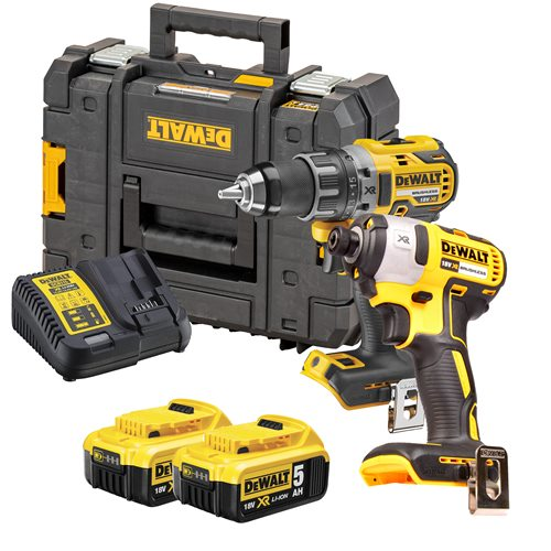 Dewalt DCK268P2T 18v XR Brushless 2 Piece Kit with 2 x 5Ah Batteries, Charger and Case