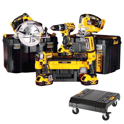 Dewalt DCK526P3T 18v XR 5 Piece Kit with 3 x 5Ah Batteries, Charger, 2 x Cases and Trolley