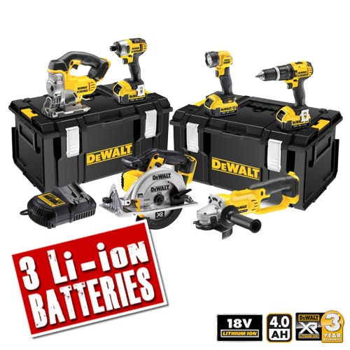 Dewalt DCK691M3 Dewalt 18v 4.0Ah XR Li-ion 6 Piece Pack (2 Speed Drill)