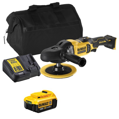 Dewalt DCM849ITS 18V XR Brushless 180mm Rotary Polisher with 1x 4Ah Battery, Charger and Bag