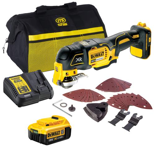 Dewalt DCS355ITS 18v XR Brushless Multi-Tool with 1 x 4Ah Battery, Charger, Bag and Accessory Set