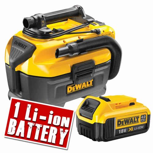 Dewalt DCV5824 Dewalt DCV582 18v XR Wet & Dry Vacuum Body + 1 x 4.0ah Battery