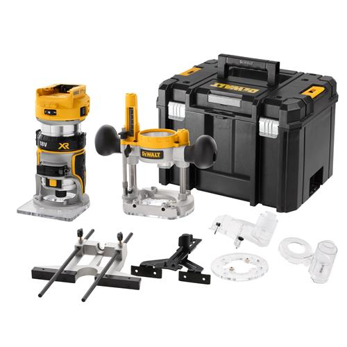"""Dewalt DCW604NT-XJ 18V XR Brushless ¼"""" Router With Fixed & Plunge Bases"""